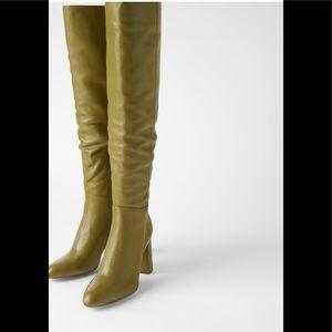 Zara High Leg Leather Heel Boots sz 41 6001/001